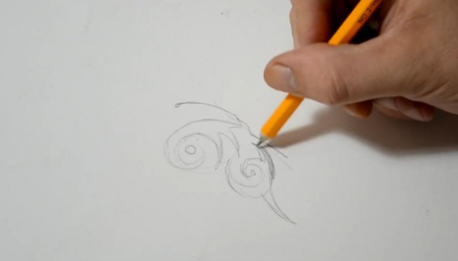 Рисуем бабочку в стиле тату - шаг 2