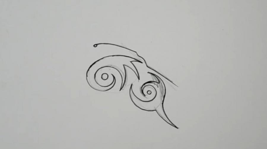 Рисуем бабочку в стиле тату - шаг 3