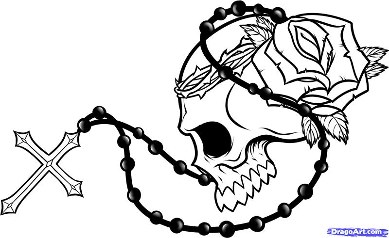 Рисуем череп с розой четками и крестом - шаг 10