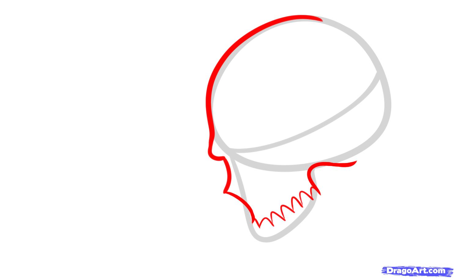 Рисуем череп с розой четками и крестом - шаг 2