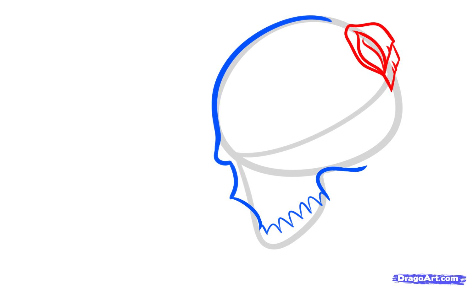 Рисуем череп с розой четками и крестом - шаг 3