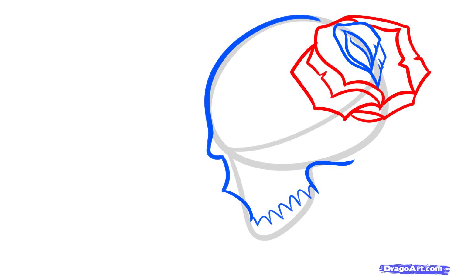 Рисуем череп с розой четками и крестом - шаг 4