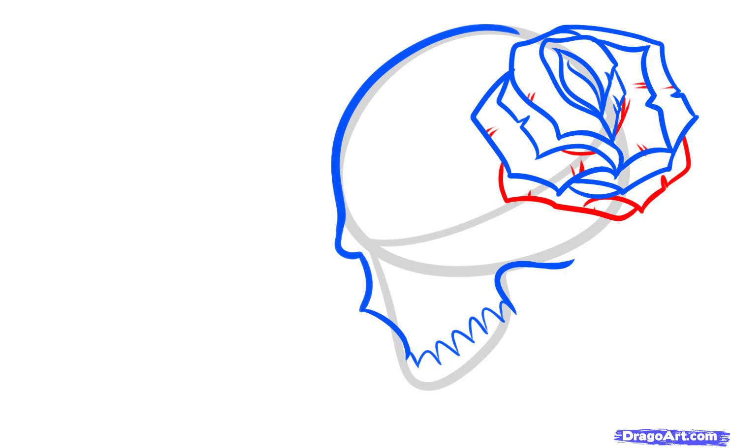 Рисуем череп с розой четками и крестом - шаг 5