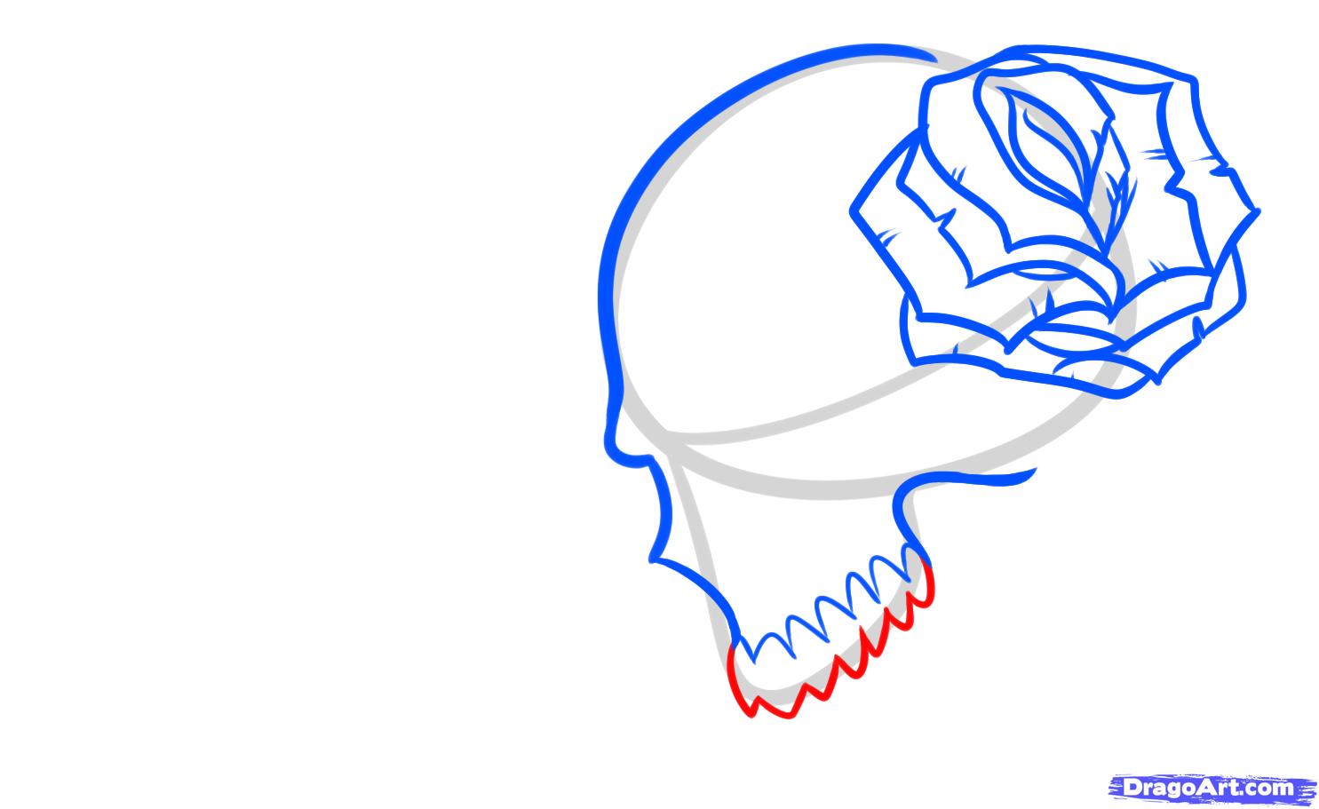 Рисуем череп с розой четками и крестом - шаг 6