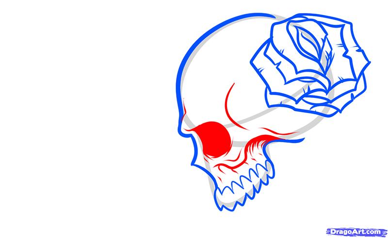 Рисуем череп с розой четками и крестом - шаг 7