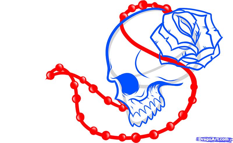 Рисуем череп с розой четками и крестом - шаг 8