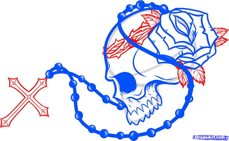 Рисуем череп с розой четками и крестом - шаг 9