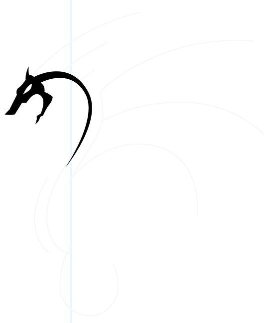 Рисуем дракона в стиле тату - шаг 4