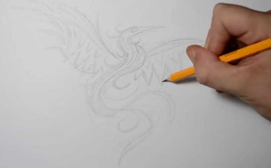 Рисуем татуировку Феникса - шаг 1