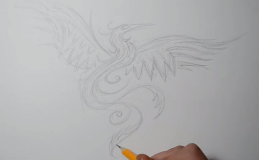 Рисуем татуировку Феникса - шаг 2
