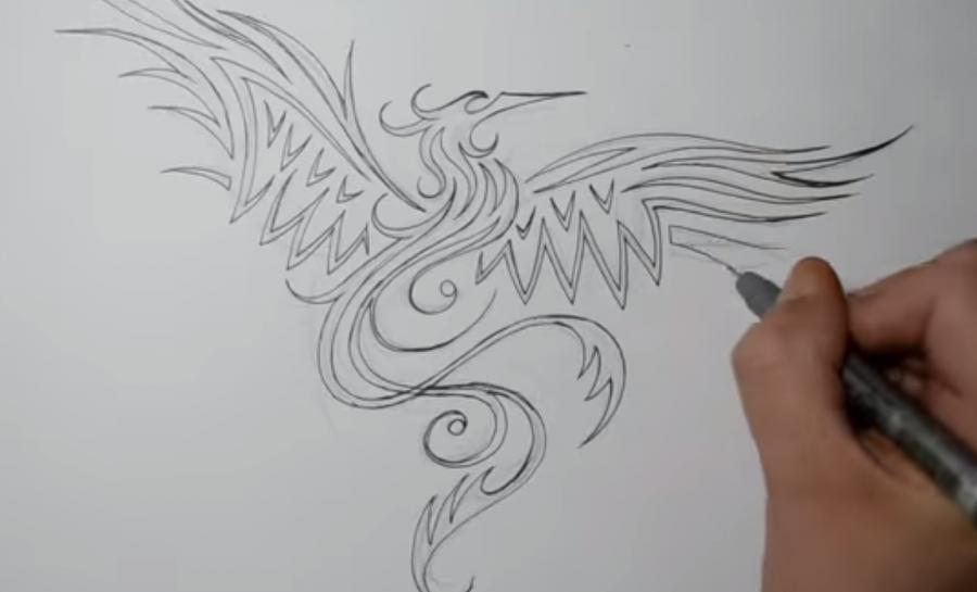 Рисуем татуировку Феникса - шаг 3
