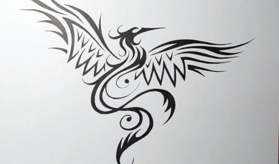 Рисуем татуировку Феникса - шаг 5