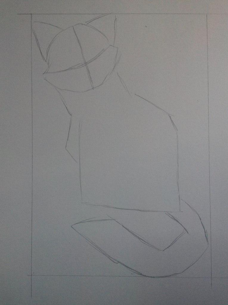 Рисуем тату котенка - шаг 2