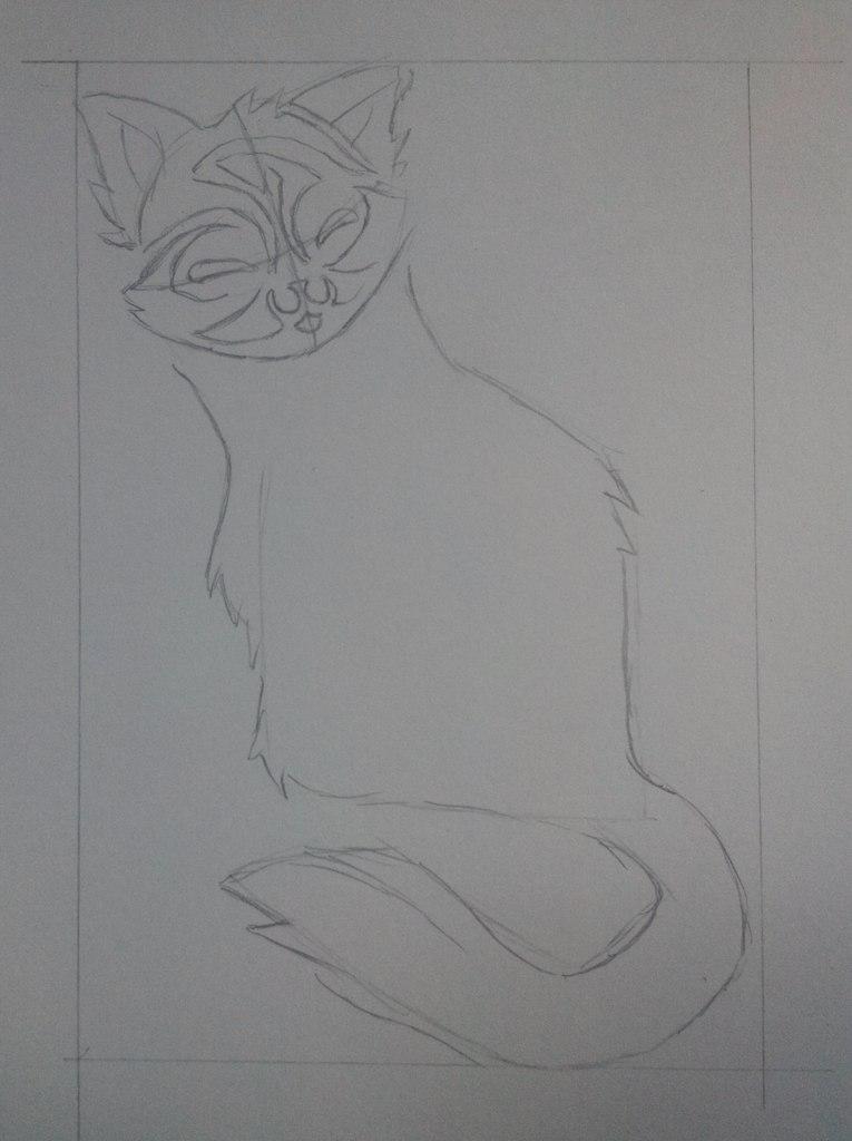 Рисуем тату котенка - шаг 3