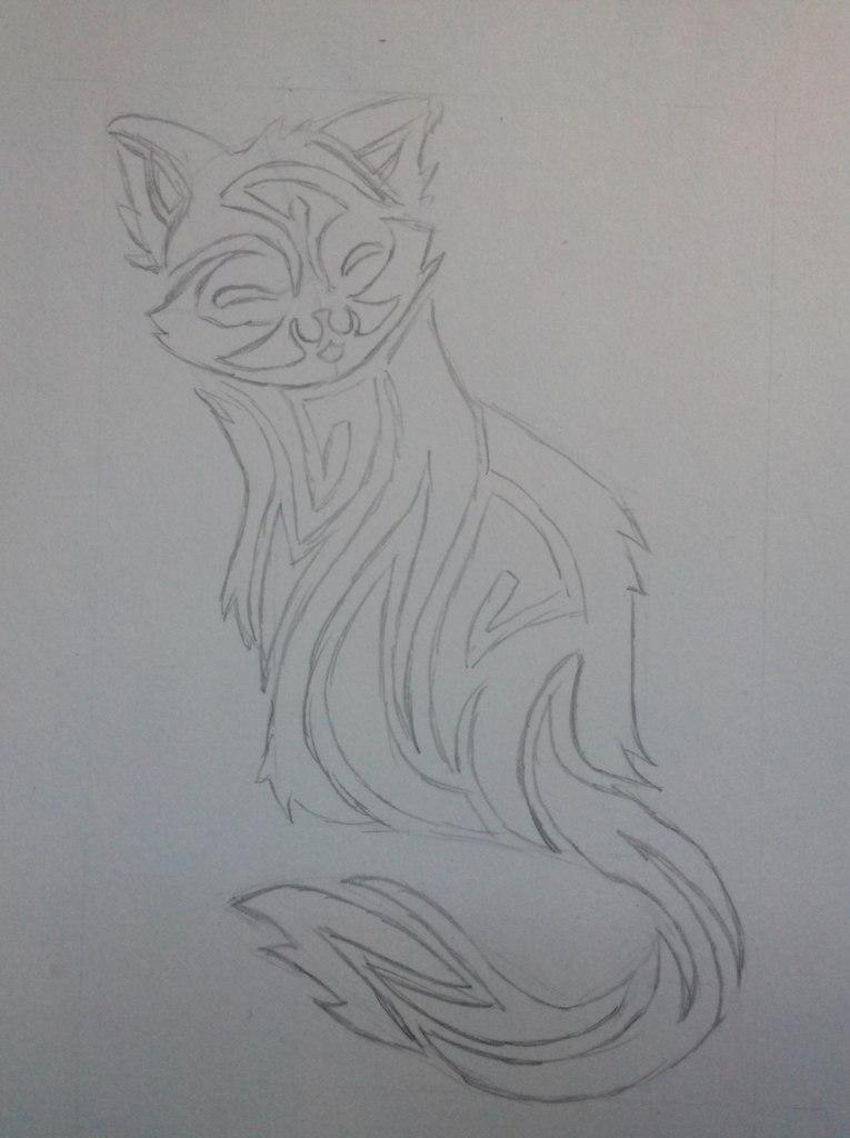 Рисуем тату котенка - шаг 4
