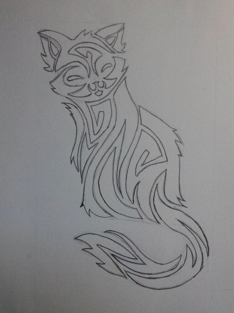 Рисуем тату котенка - шаг 5