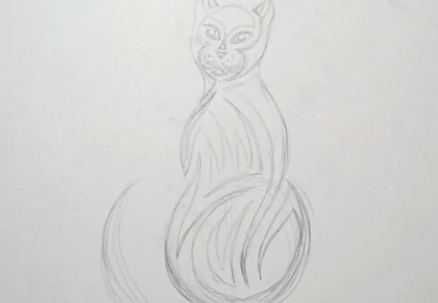 Рисуем кошку в стиле тату - шаг 3
