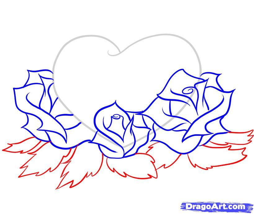 Картинки карандашом розы в сердце