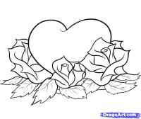 Фото сердце с розой карандашом