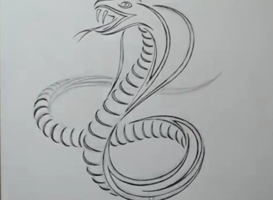 Рисуем татуировку змеи  на бумаге - шаг 5