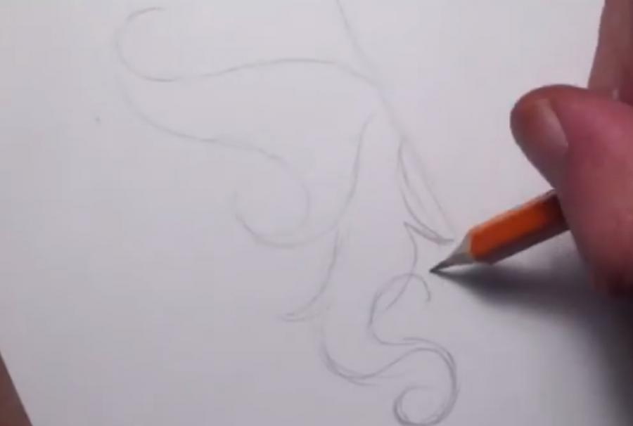 Рисуем татуировку бабочка - шаг 1