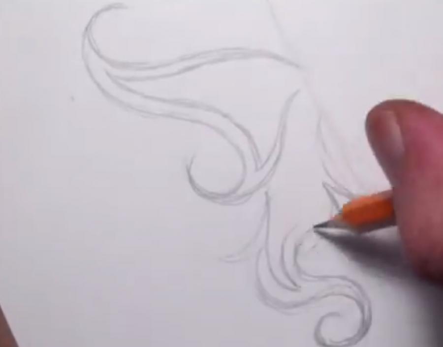 Рисуем татуировку бабочка - шаг 2