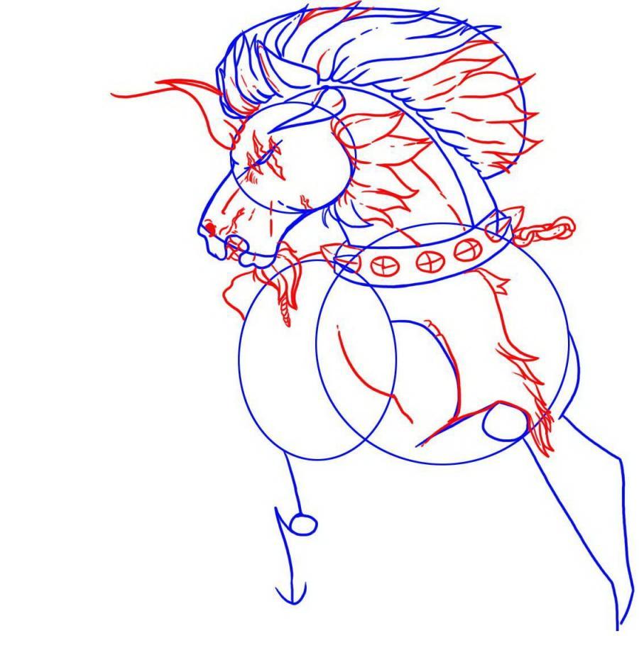 Рисуем татуировку боевого коня - шаг 3