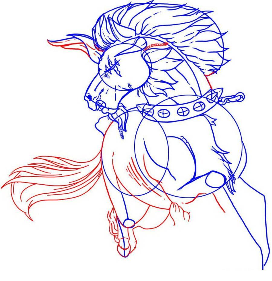 Рисуем татуировку боевого коня - шаг 4