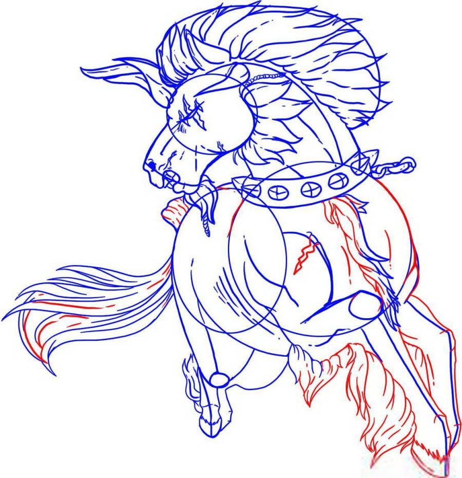 Рисуем татуировку боевого коня - шаг 5
