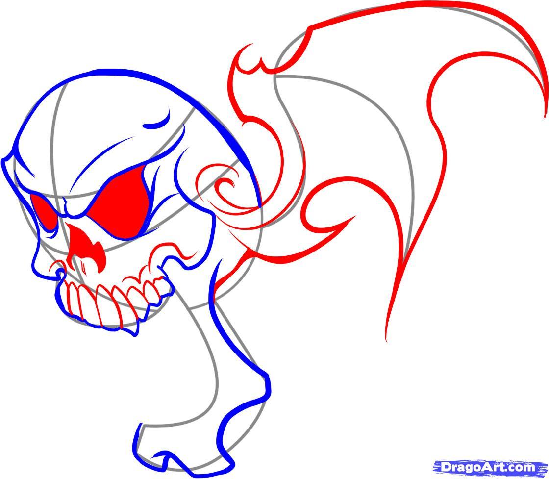 Рисуем череп в пламени - шаг 4