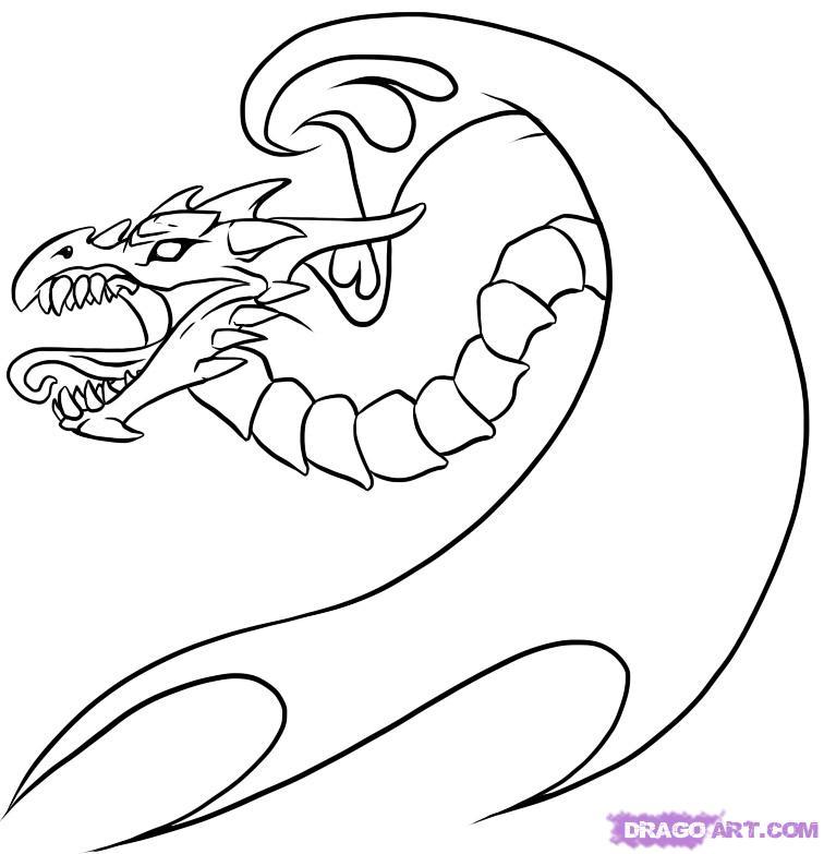 Рисуем татуировку дракона  для начинающих - шаг 7