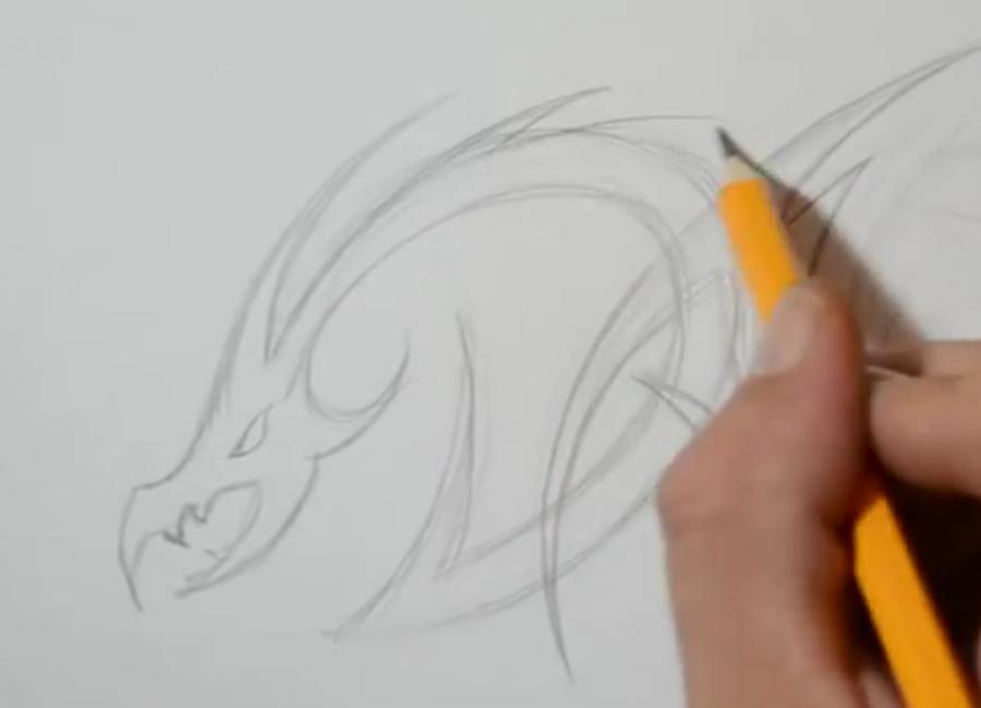 Рисуем татуировку дракона на бумаге - шаг 2