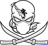 Фото татуировку: лицо ниндзя с двумя мечами карандашом