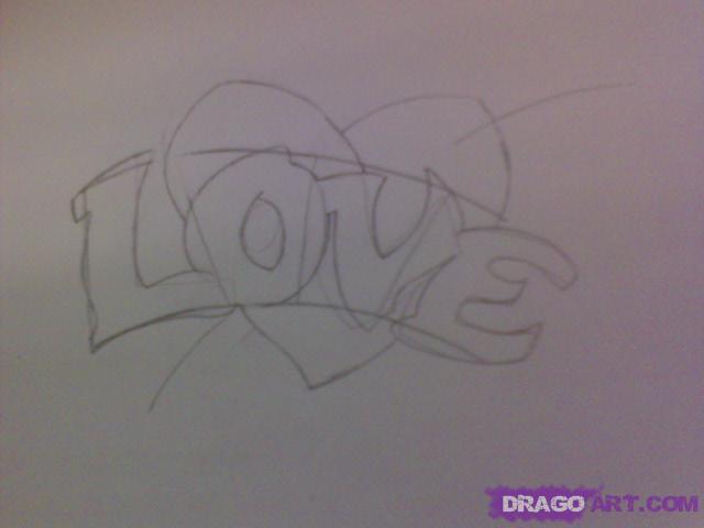 Рисуем татуировку LOVE с сердцем - шаг 4