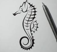 Фото татуировку морского конька карандашом