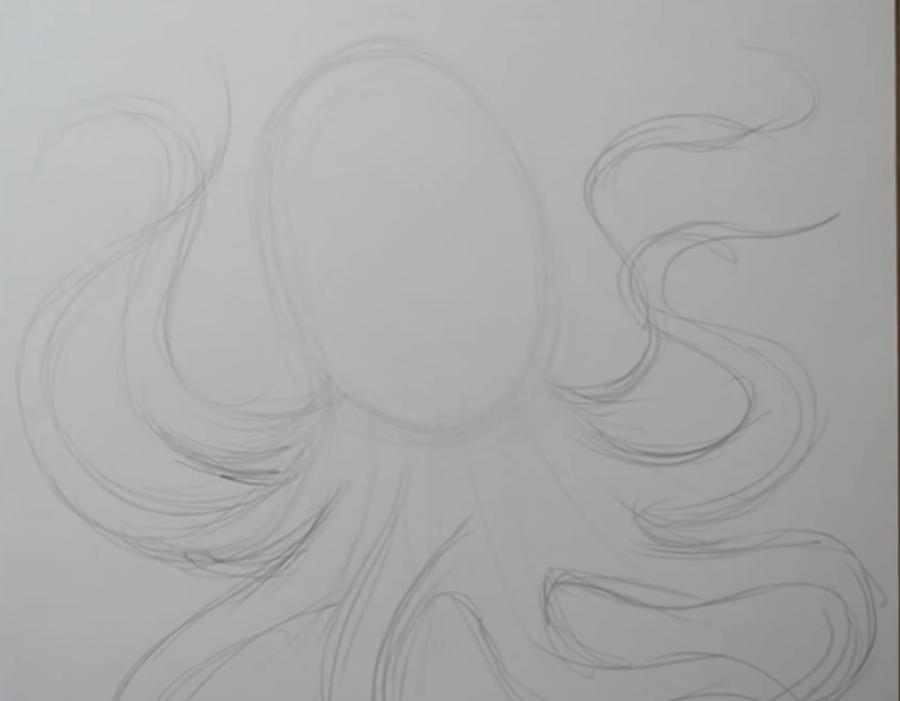 Рисуем татуировку осьминога на бумаге - шаг 2