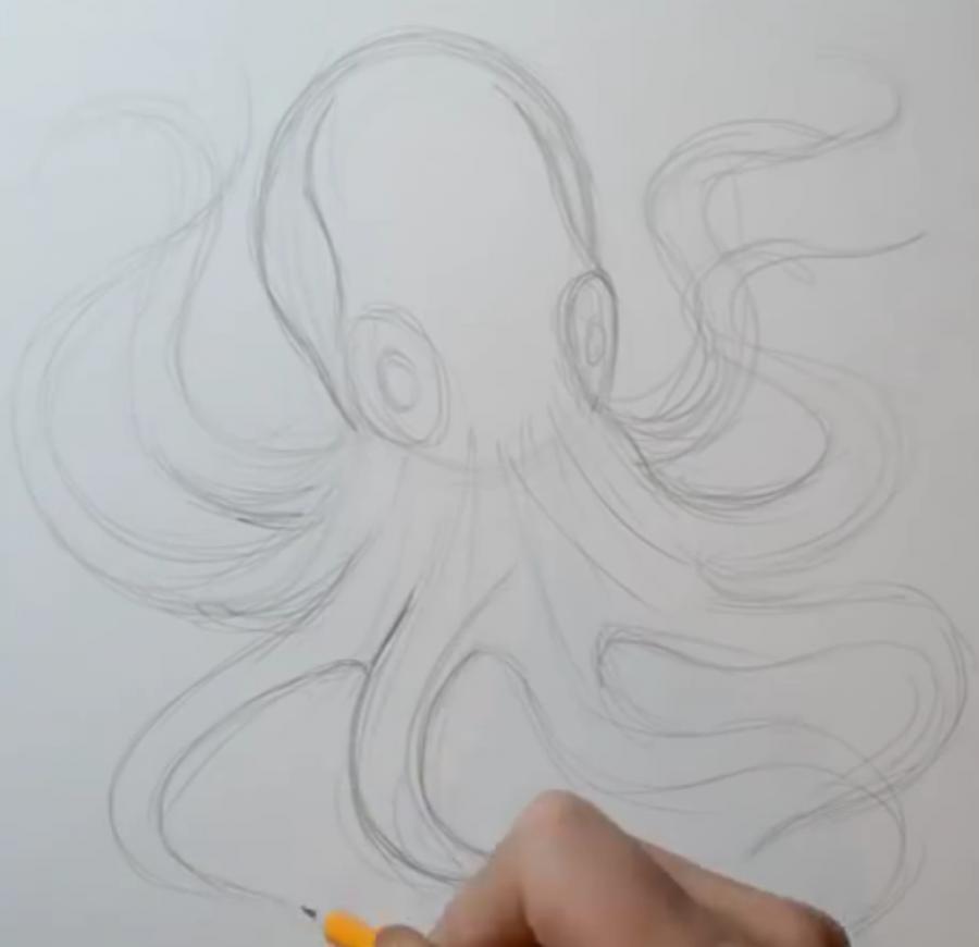 Рисуем татуировку осьминога на бумаге - шаг 3