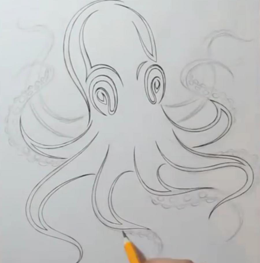 Рисуем татуировку осьминога на бумаге - шаг 5