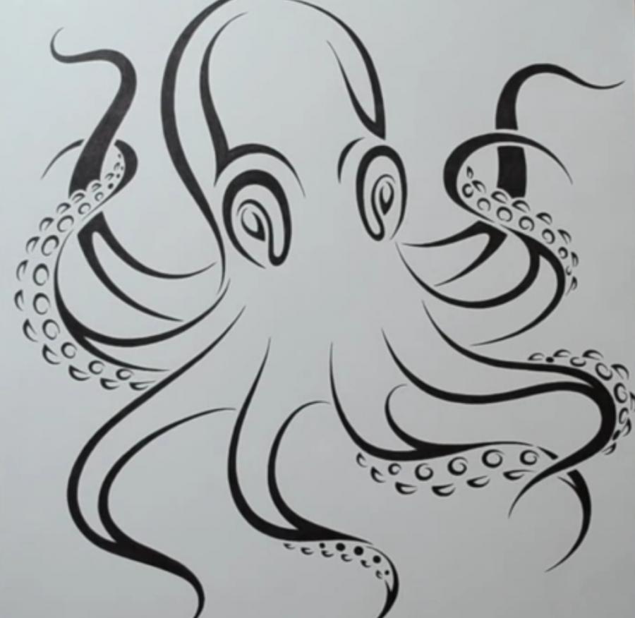 Рисуем татуировку осьминога на бумаге - шаг 6