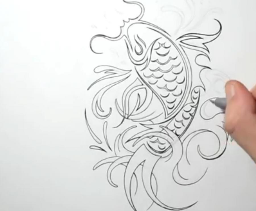Рисуем татуировку рыбы - шаг 4