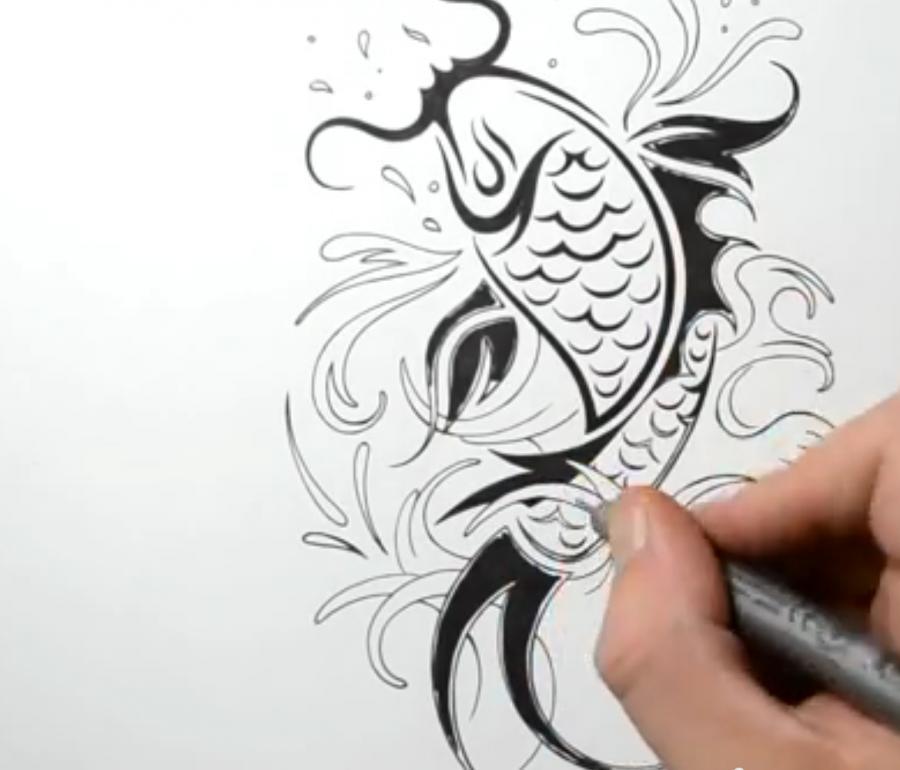 Рисуем татуировку рыбы - шаг 5