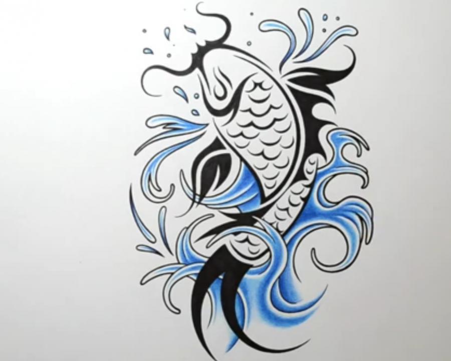 Рисуем татуировку рыбы - шаг 6