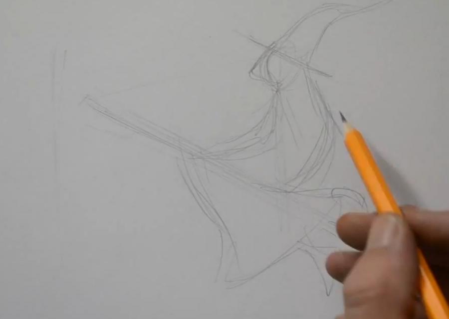 Рисуем татуировку ведьмы на метле - шаг 1