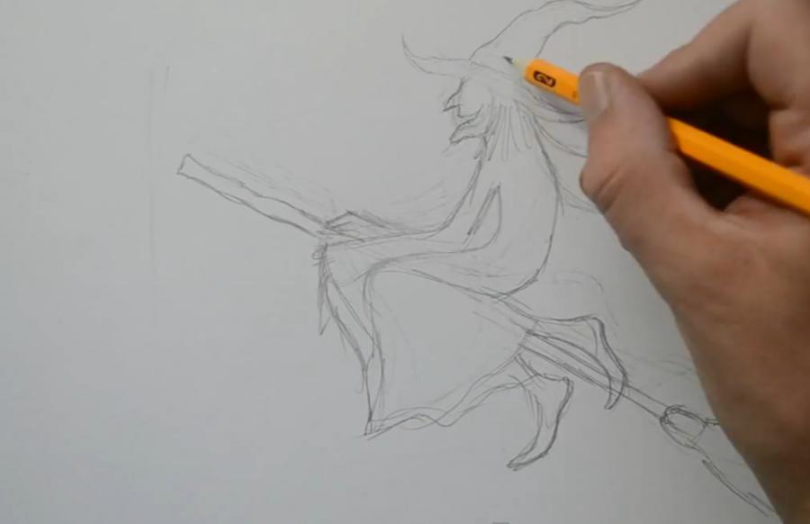 Рисуем татуировку ведьмы на метле - шаг 2