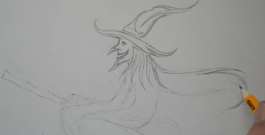 Рисуем татуировку ведьмы на метле - шаг 3