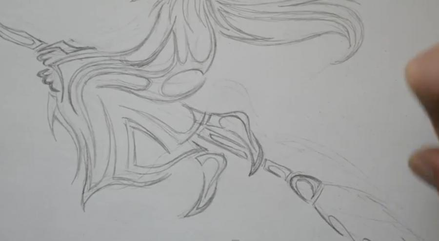 Рисуем татуировку ведьмы на метле - шаг 4