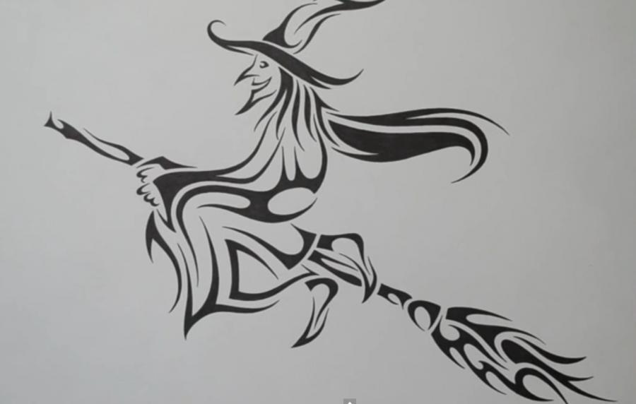Рисуем татуировку ведьмы на метле - шаг 6