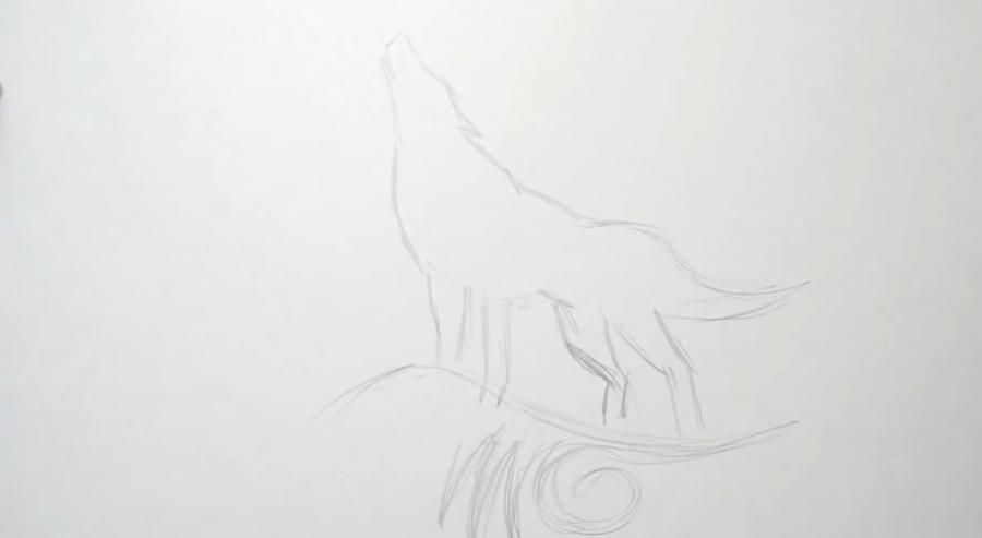 Рисуем татуировку волка - шаг 2