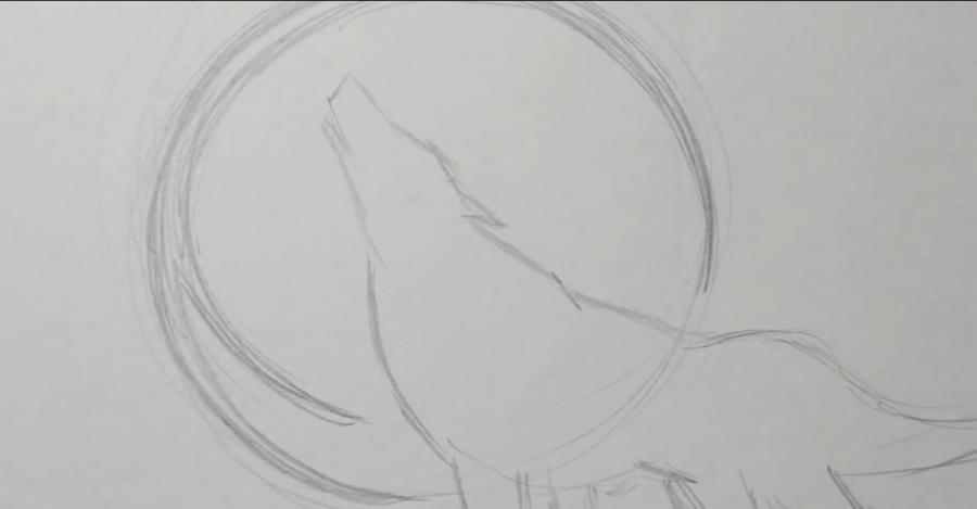 Рисуем татуировку волка - шаг 3