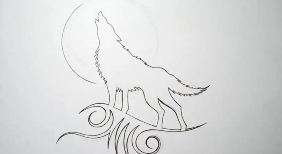 Рисуем татуировку волка - шаг 5